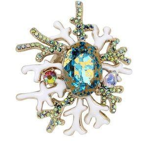 Betsey Johnson Glitter Reef Patina Stone Ring